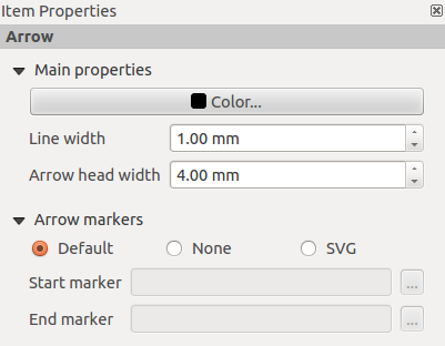 Figura 18.21: Separador de propriedades da Forma The Arrow item properties tab allows you to draw an arrow in the Print Composer canvas.