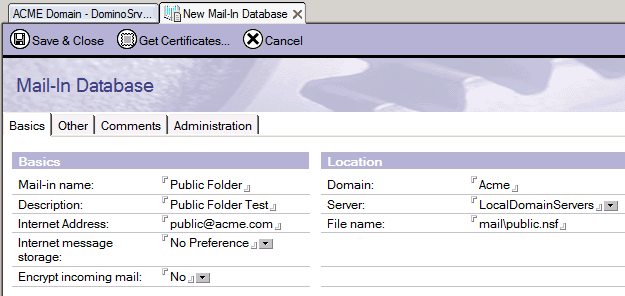 Screenshot 10: Novo email no banco de dados 7. No Lotus Notes Administrator, configure a pasta a ser usada pelo email. Acesse People and Groups e selecione Mail-In Database.