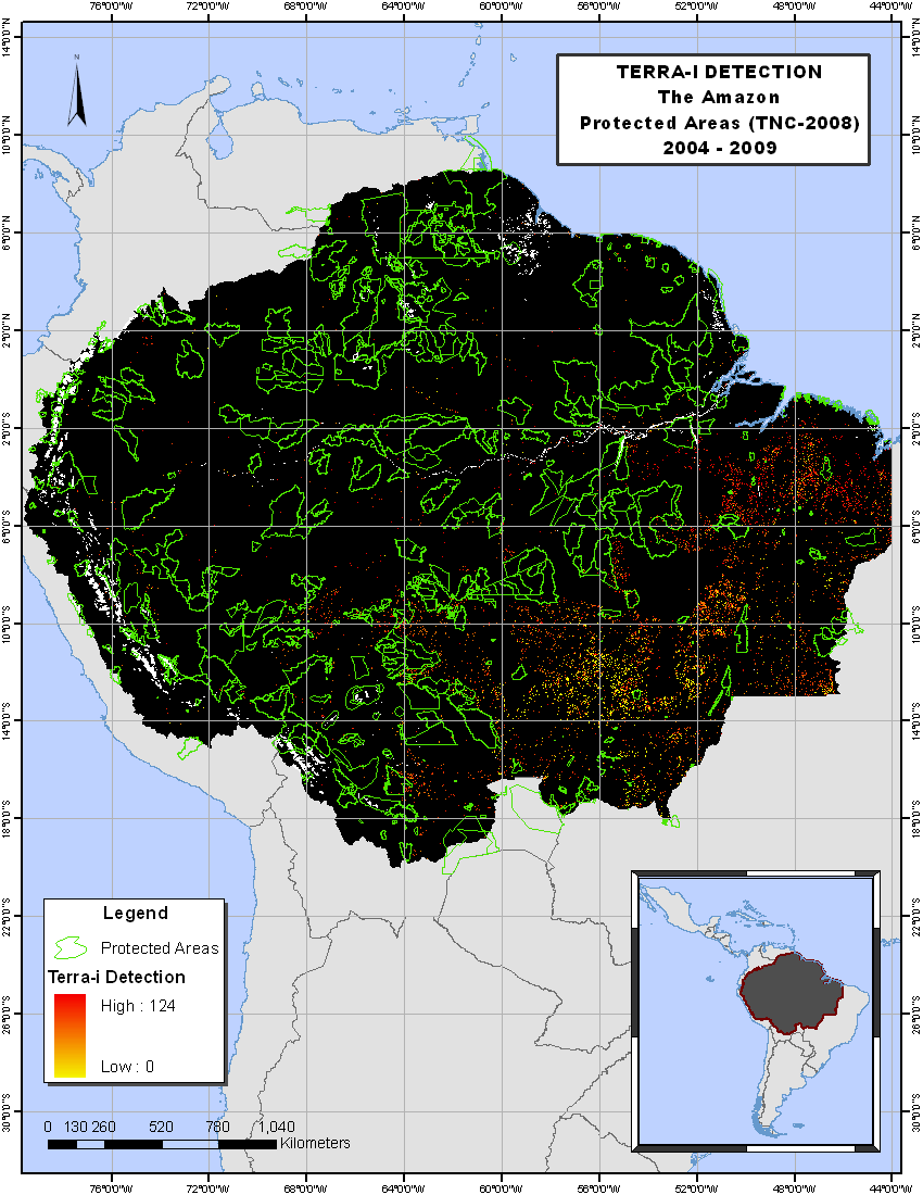 6.2 Detection within Protected Areas For each protected area within the Amazon, we extract the deforested hectares for each analyzed year.