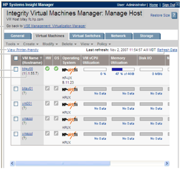 3.1 HP VSE - VIRTUAL SERVER ENVIRONMENT 46 Figura 3.6: HP Integrity Virtual Machines Manager.
