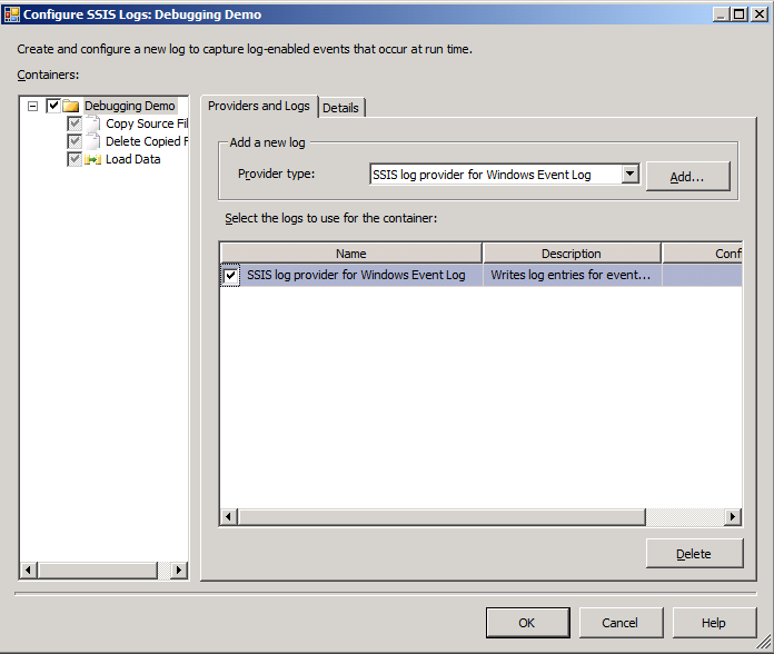 Implementando Logging do SSIS 1. Adicione e configure log providers 2.