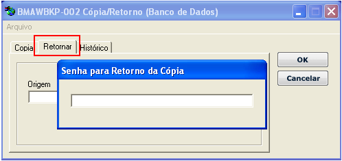 No exemplo acima o nome do arquivo de backup final seria COPIABMA.ZIP.