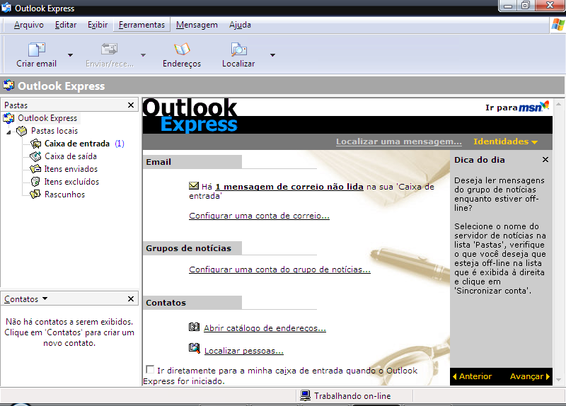 Figura I. 2 - Primeira tela Outlook Express 2.
