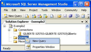 Figura 21 - Solution Explorer: New Query 8. Na caixa de diálogo Connect to Database Engine clique em Connect Figura 22 Caixa de Diálogo: Connect to Database Engine 9.