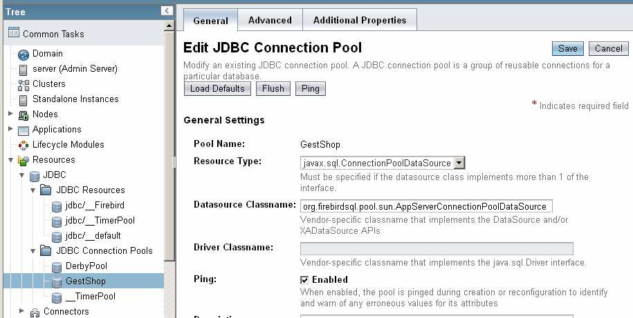 43 Figura 32 - Administração do GlassFish 3.1 JDBC Connection Pools (General).