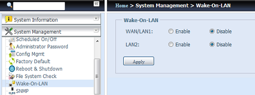 No menu, seleccione o item WOL para apresentar o ecrã Wake-up On LAN. Neste ecrã, pode optar por Enable (Activar) ou Disable (Desactivar).