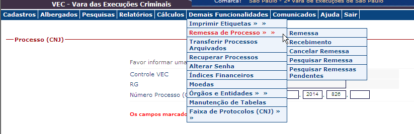 11 REMESSA DE PROCESSOS Regras: 1. A remessa de processos será classificada como: Remessa para outra VEC ou Remessa para outro local.