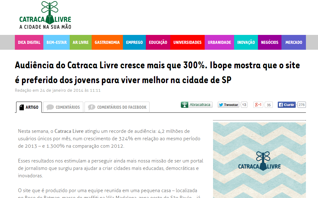 WordPress aguenta o tranco! http://catracalivre.com.