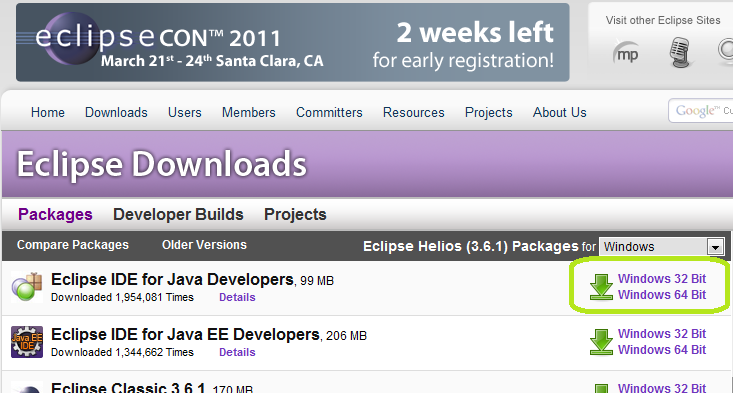 Download Eclipse Baixe o Eclipse EE Developers ou Eclipse for