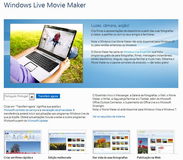 Windows Live Movie Maker Passo-a-passo para Professores Criar um filme com o Windows Live Movie Maker Descarregue o programa 1.