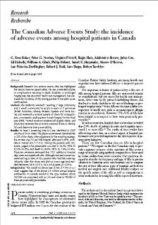 adverse events among hospital patients in Canada.