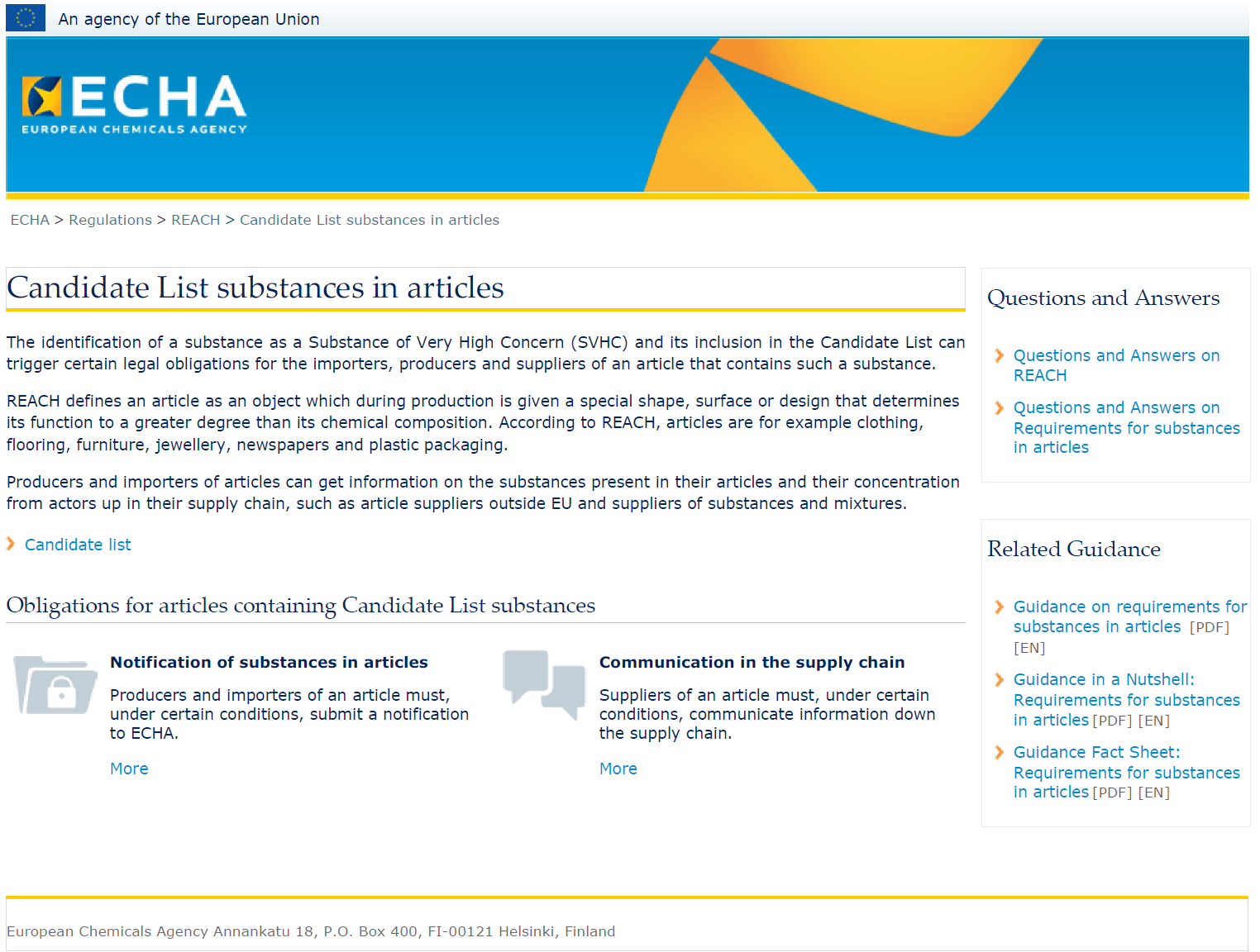 Substances in Articles website http://echa.europa.