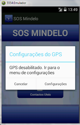 2.6 Interface principal alertando ao utilizador para activar o GPS do dispositivo para poder