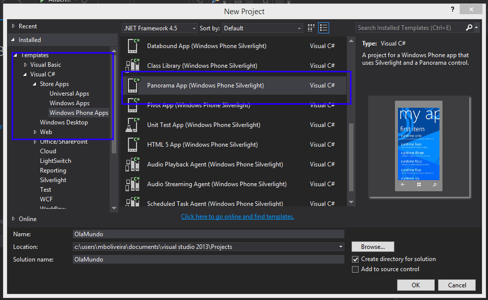 1. No menu do Visual Studio selecionar File New Project 2. Dos templates fornecidos escolher Panorama App (Windows Phone Silverlight) como mostrado na Figura 66.