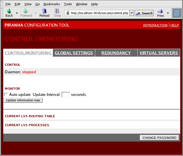 Capítulo 1. Red Hat Cluster Suite Visão geral Starting the Piranha Configuration T ool causes the Piranha Configuration T ool welcome page to be displayed (refer to Figura 1.29, T he Welcome Panel ).