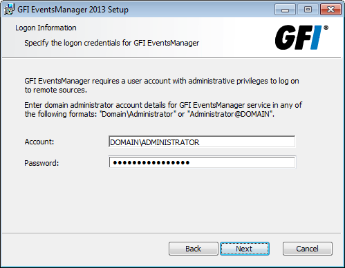 Screenshot 35: Remover credenciais de logon do monitoramento de log de evento 10. Digite as credenciais de logon que GFI EventsManager utiliza para conectar-se aos computadores remotos. Obs.