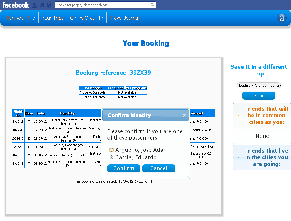 If the user does not have the booking saved in the database, a message is displayed asking if the user is one of the passengers of the booking.