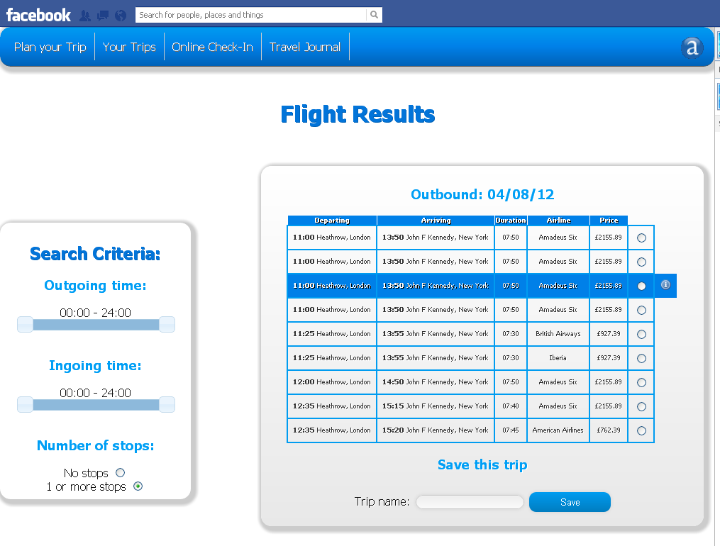 Image 5 Screen showing the availability related to an invited trip 4.1.