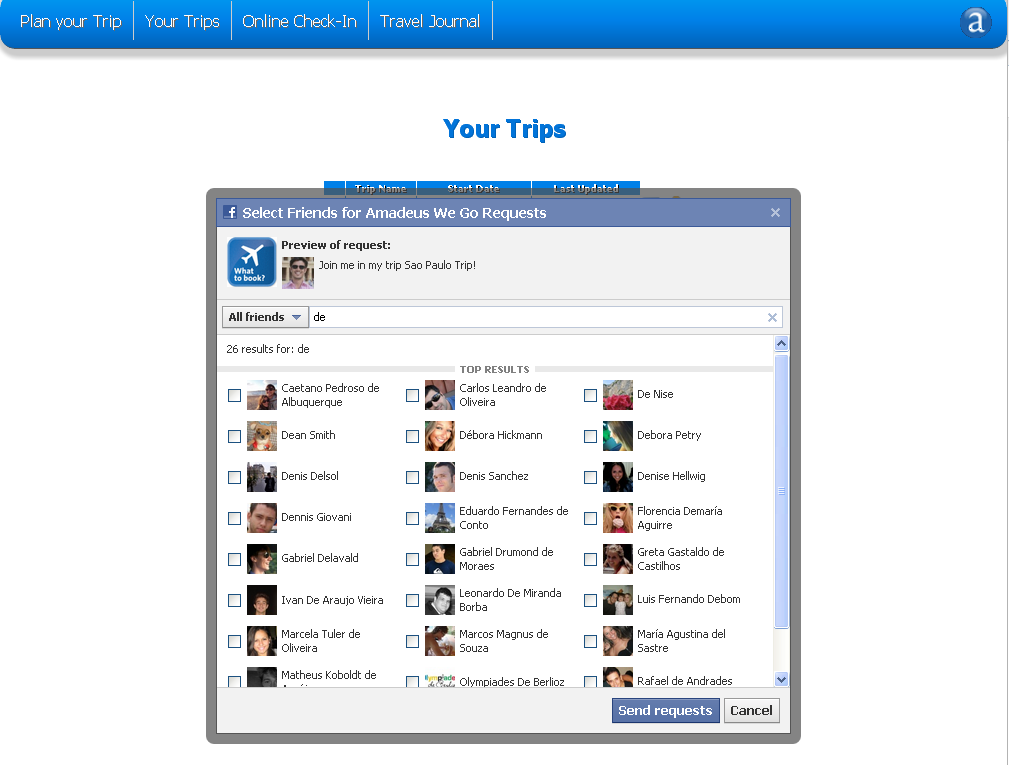 Image 9 Screen showing the invitation to a trip 4.