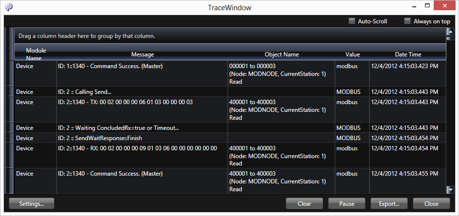 TraceWindow 6. Componentes do BluePlant A TraceWindow é usada para capturar as mensagens dos módulos de Runtime do BluePlant conforme ilustrado na Figura 6-78.