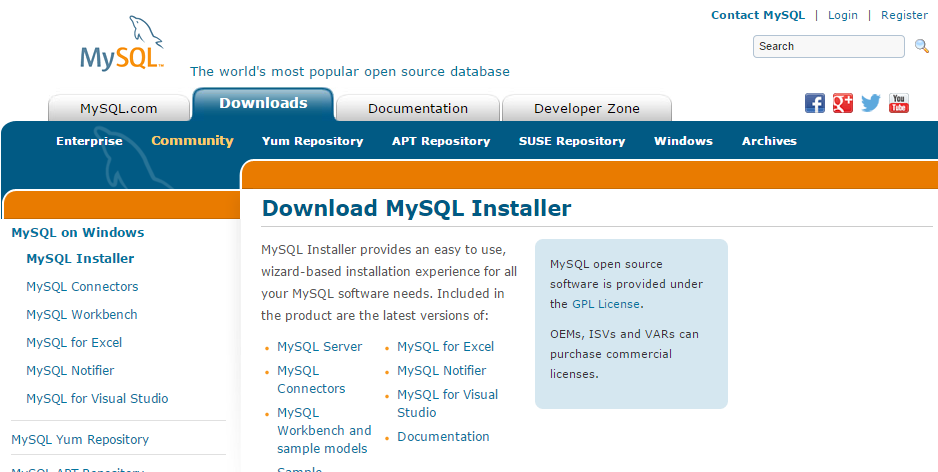 .. Finish! dev.mysql.