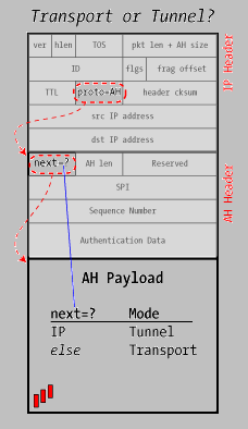 authentication check as any AH-type packet, and those passing the check have their entire IP and AH headers stripped off.