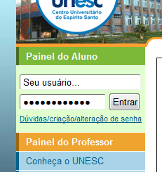 Localize no canto esquerdo do site o link Painel do Aluno.