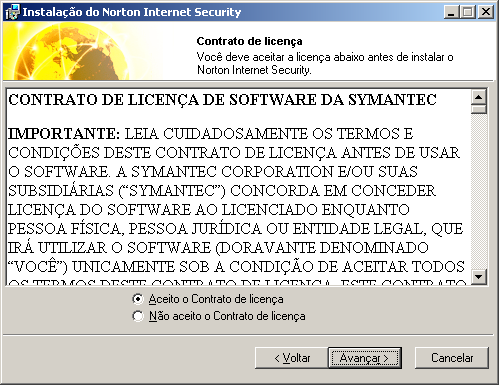 32 Instalando Norton Internet Security Instalar Norton Internet Security Instalar Norton Internet Security Instalar o Norton Internet Security via CD do CD do Norton Internet Security.