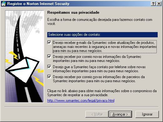36 Instalando Norton Internet Security Registrar seu software Registrar seu software Use o Assistente do Registro para registrar seu software on-line.