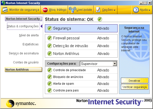 50 Princípios do Norton Internet Security Acessar o Norton Internet Security 2 Na área de trabalho do Windows, clique duas vezes em Norton Internet Security.