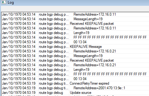 Debug do estado do BGP Ativar o log