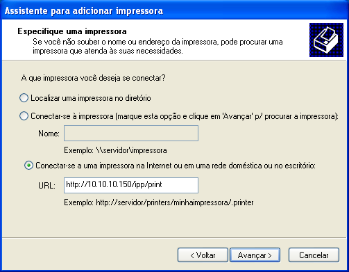 WINDOWS 29 4 Windows XP/Vista/Server 2003: Selecione Conectar-se a uma impressora na Internet ou na intranet.