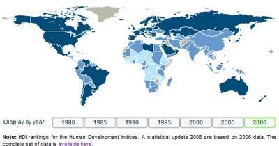 17 Alto Desenv. Humano Médio Desenv. Humano Baixo Desenv. Humano Não avaliado Note: HDI rankings for the Human Development Indices: A statistical update 2008 are based on 2006 data.