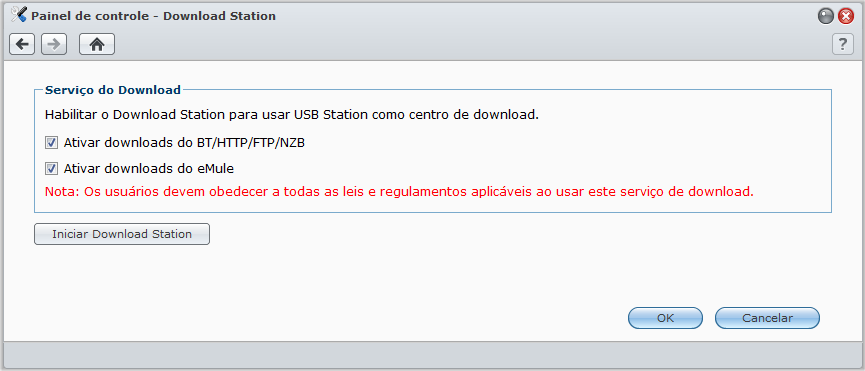Ative o Download Station Vá ao Menu principal > Painel de controle > Download Station para ativar o Download Station.