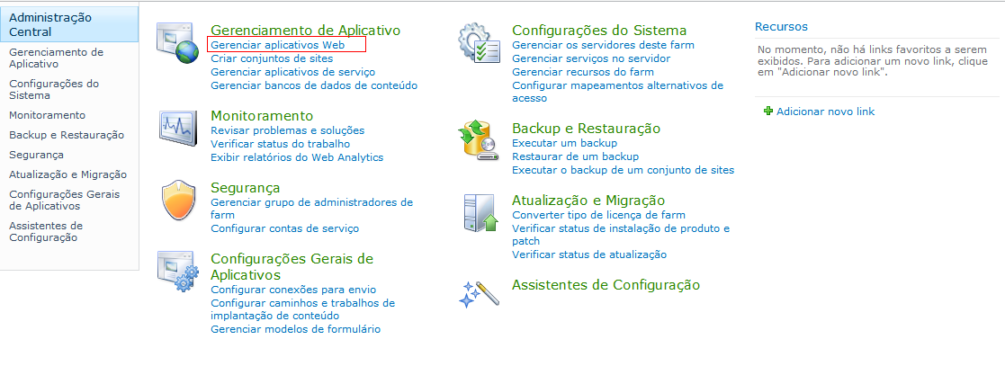 Preparar o servidor de réplica do SharePoint a. Na Administração Central do SharePoint 2010, cl
