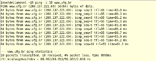 ping - envia pacotes ICMP (do tipo ECHO_REQUEST).