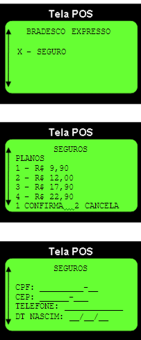 Selling procedures POS screen Choose option seguros (insurance) Plan options appear choose at POS the client s option After this the