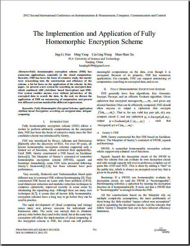C.4 - The Implementtion and Application of Fully Homomorphic