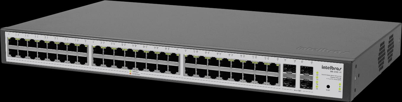 SG 5200 MR Switches Switch gerenciável 48 portas Gigabit Ethernet + 4 portas Mini-GBIC» 512 VLANs ativas e 4000 VLANs IDs» Spanning Tree, Rapid Spanning Tree e Multiple Spanning Tree» Backplane de
