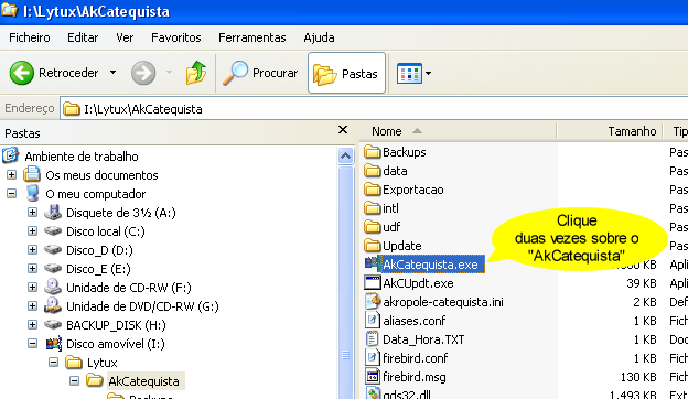 Como mover o Akropole Catequista do disco rígido para uma Pen USB. É deveras complicado: >> Abra o explorador do Windows, >> Mova a directoria C:\Lytux para a Pen USB. Já está.