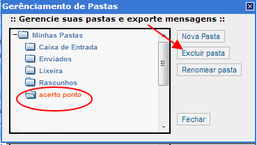 Como posso excluir pastas?