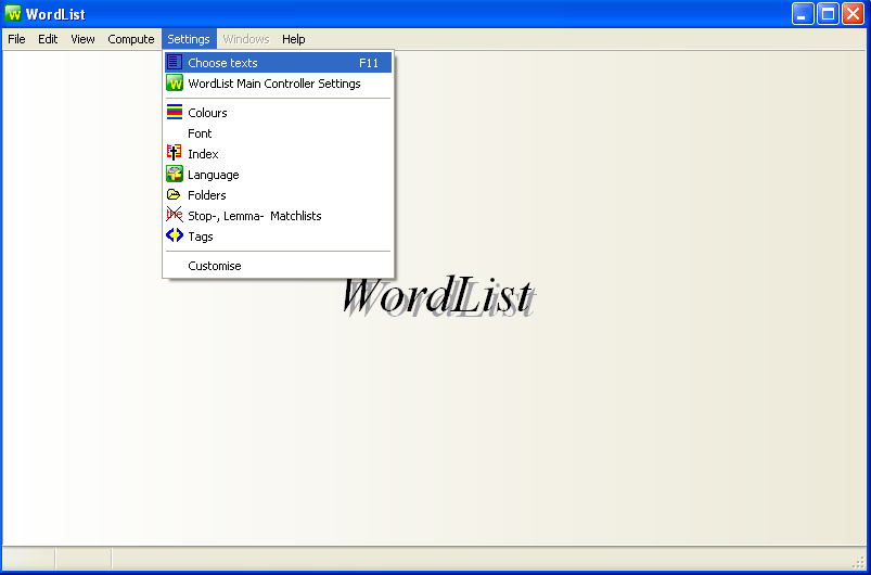 Figura 2 - Janela do Wordlist, opção Setting e Choose Texts Figura