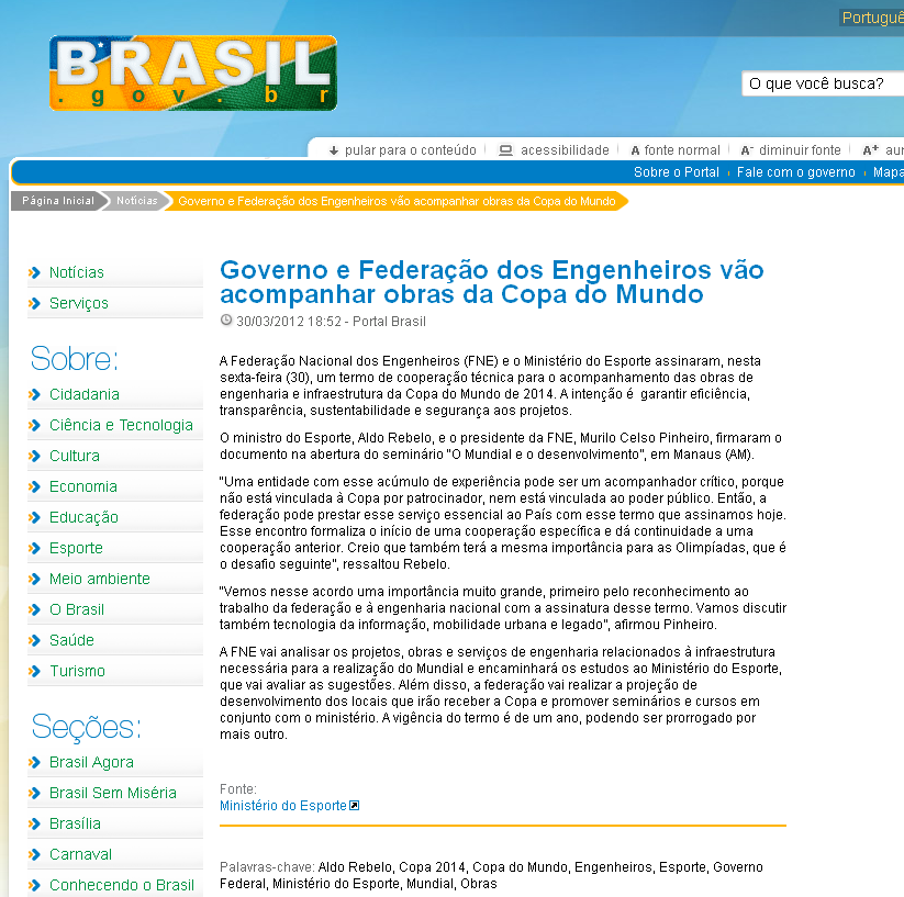 Portal Governo Federal DATA 30.03.2012 http://www.portal2014.org.