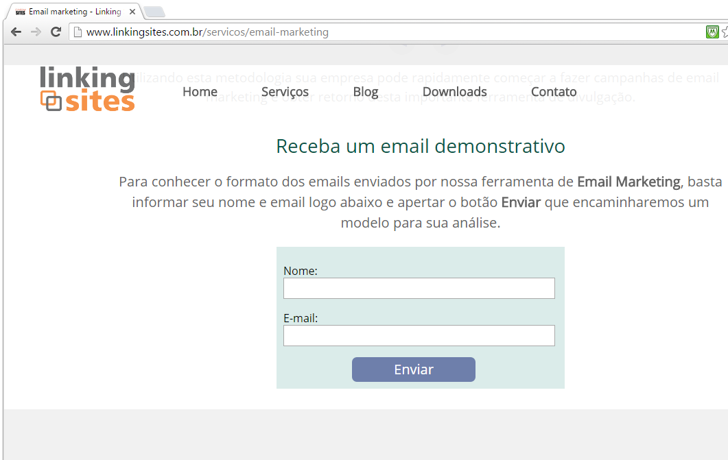 Veja, por exemplo, a página sobre email marketing.