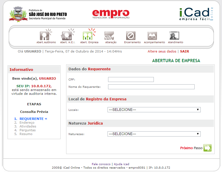 Etapa 1 - Requerente Informe os Dados do Requerente, o Local de Registro