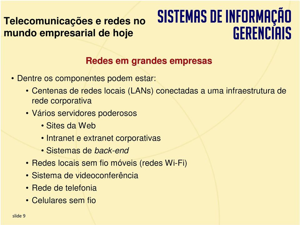 corporativa Vários servidores poderosos Sites da Web Intranet e extranet corporativas Sistemas de