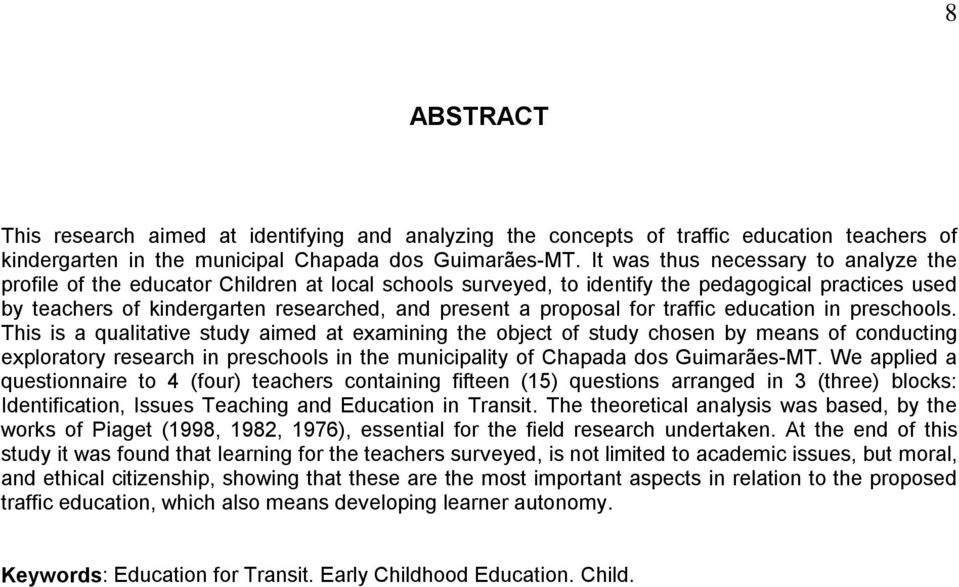 proposal for traffic education in preschools.