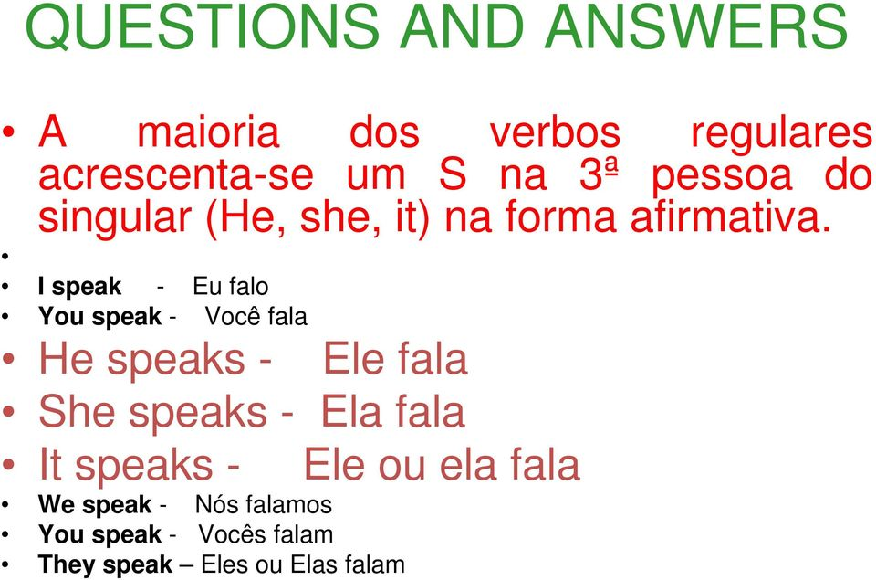 I speak - Eu falo You speak - Você fala He speaks - Ele fala She speaks -