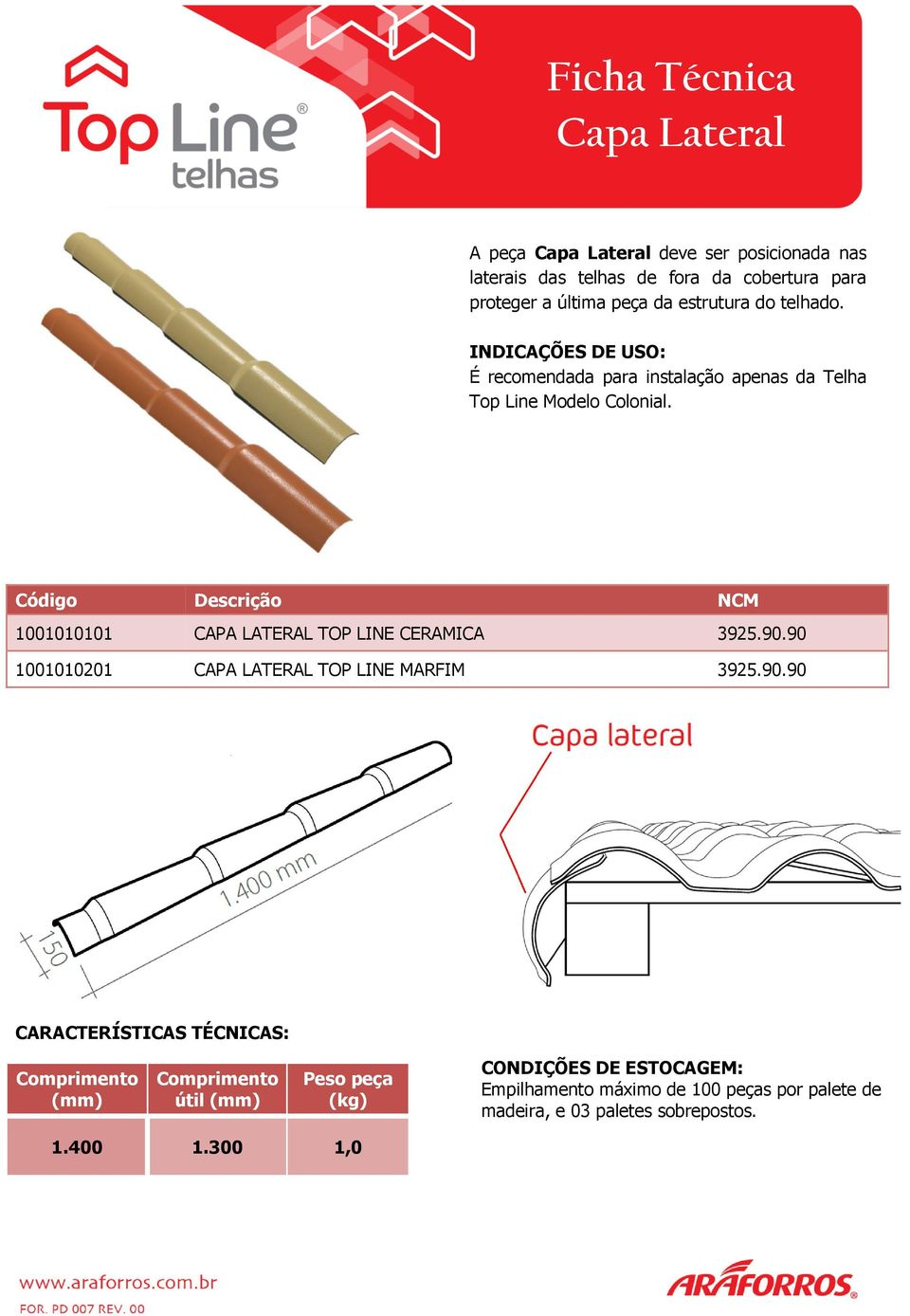1001010101 CAPA LATERAL TOP LINE CERAMICA 3925.90.