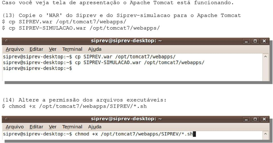 SIPREV.war /opt/tomcat7/webapps/ $ cp SIPREV-SIMULACAO.